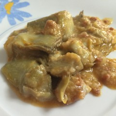 Alcachofas con jamón y salsa de almendras (TM5)
